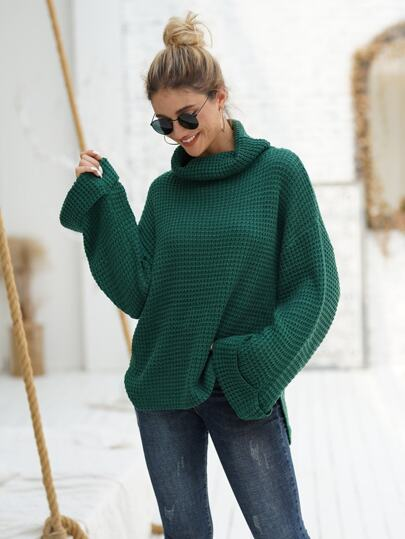 Waffle Knit High Neck Drop Shoulder Sweater