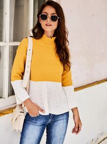 High Neck Two Tone Jumper