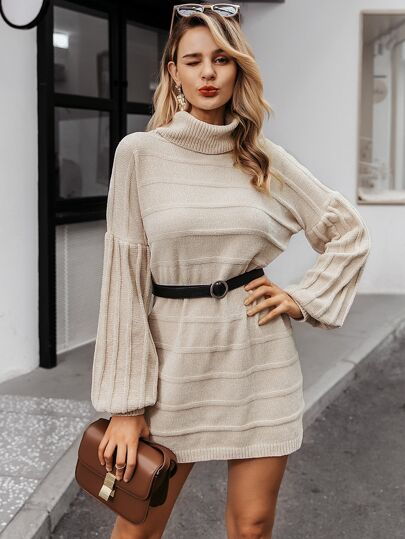 Simplee Bishop Sleeve Turtleneck Sweater Dress Without Belt