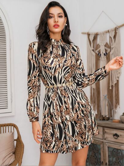 Glamaker Zebra & Scroll Print Dress Without Belt