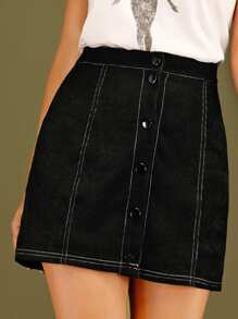 Contrast Stitching Corduroy Skirt