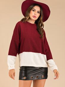Two Tone Drop Shoulder Teddy Sweatshirt