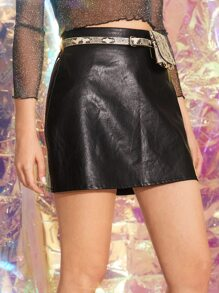 Zip Back PU Skirt With Snakeskin Print Belted & Bag