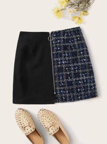 Zip Up Contrast Tweed Mini Skirt