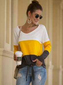 Color-block Knot Hem Tee