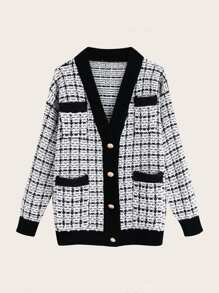 Plaid Button Front Cricket Cardigan