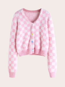 Checker Colorful Heart Button Front Fluffy Cardigan
