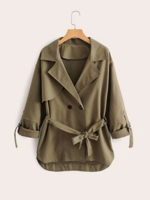 Lapel Roll Up Sleeve Belted Trench Coat