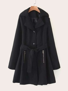 Button Through Flared Hem Belted Coat