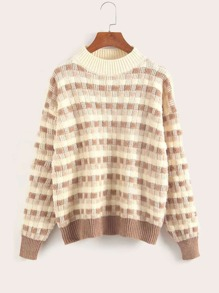 Waffle Knit Fluffy Stand Collar Sweater