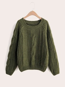 Solid Cable Knit Raglan Sleeve Sweater