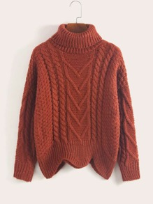 Solid Turtleneck Cable Knit Scallop Hem Sweater