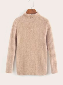 Mock Neck Embroidery Fluffy Sweater