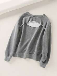 Solid Cut Out Back Sweatshirt