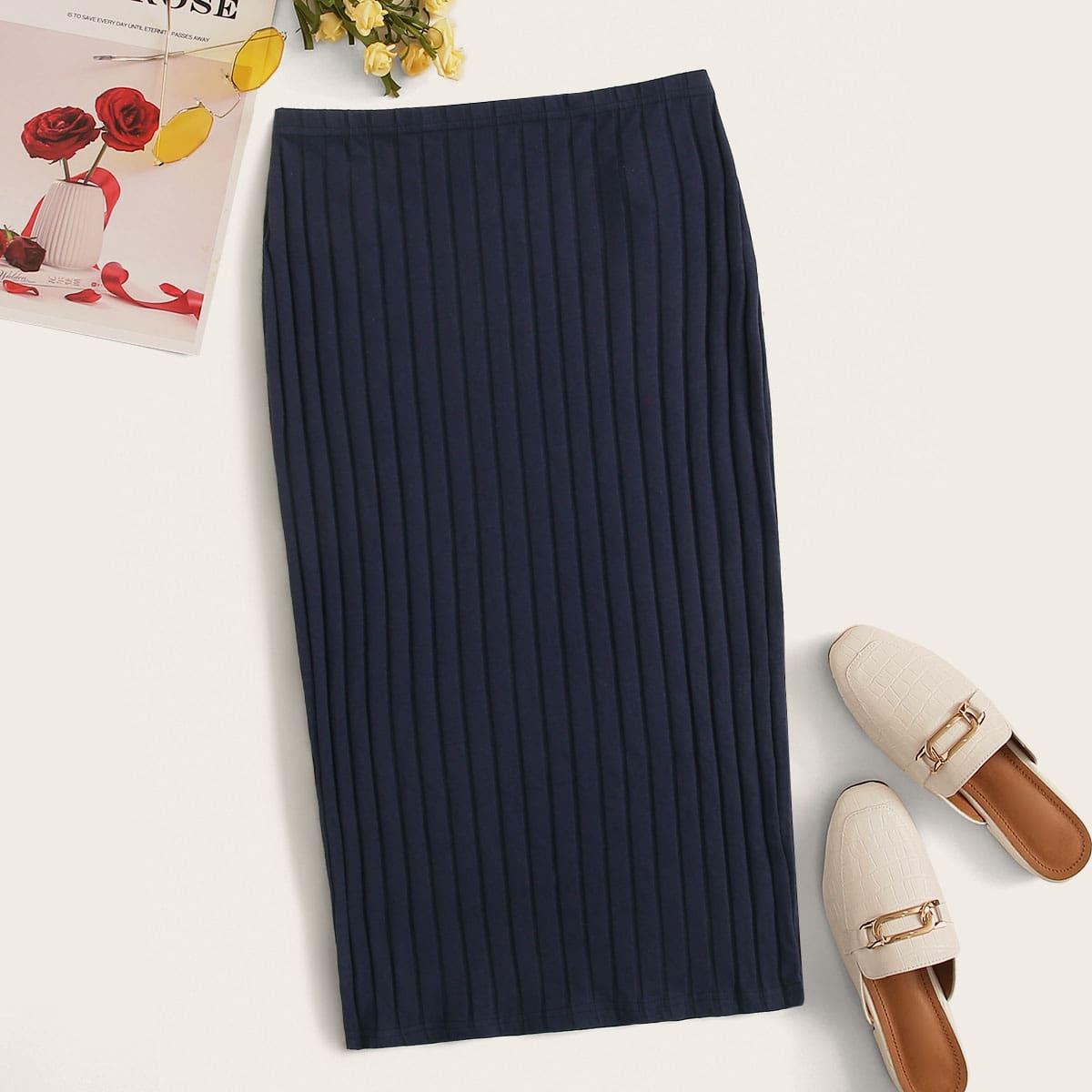 Трикотажная юбка-карандаш с эластичной талией
