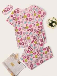 Donut Print Pajama Set With Eye Mask