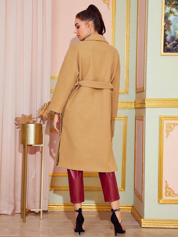SheinNotched Collar Split Hem Belted Coat by Sheinside