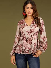 Floral Print Surplice Belted Blouse