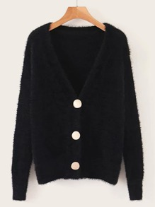 Button Through Fluffy Knit Cardigan