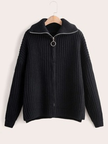 Ribbed Knit Zip Up Cardigan