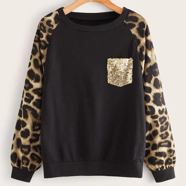 Свитшот размера плюс с леопардовым принтом и блестками