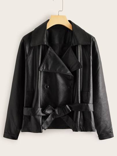 PU Lapel Neck Button Through Belted Biker Jacket