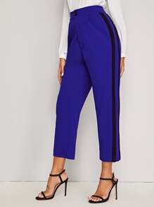 Contrast Panel Side Button Front Pants