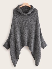 High Neck Asymmetrical Hem Sweater