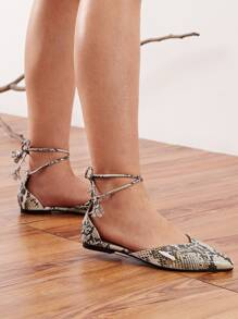 Point Toe Snakeskin Ballet Flats