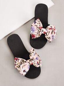 Open Toe Bow Decor Flat Slippers