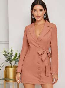 Lapel Neck Covered Button Tie Side Blazer Dress