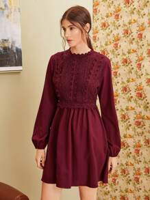 Contrast Guipure Lace Bishop Sleeve A-line Dress
