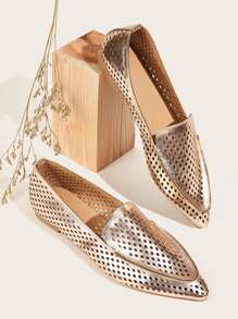 Metallic Perforated Flat Loafers
