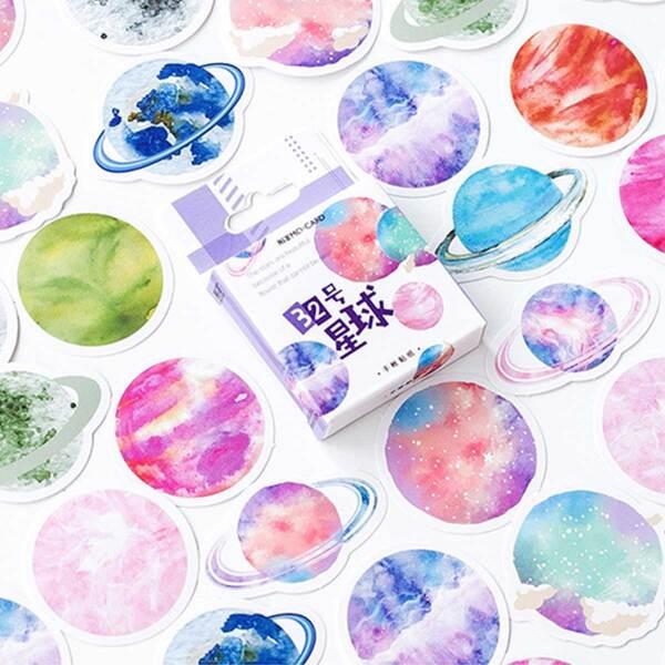 45pcs Colorful Planet Print Sticker, Multicolor