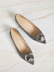 Point Toe Jewelled Decor Ballet Flats