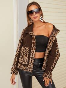 Contrast Leopard Panel Dual Pocket Teddy Coat