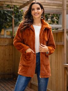 Dual Pocket Zip Up Teddy Coat