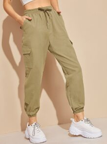 Flap Pocket Drawstring Waist Cargo Pants
