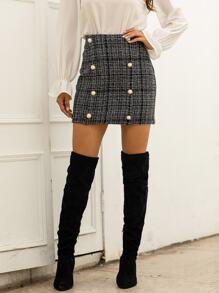 Tweed Double Pearls Breasted Mini Skirt
