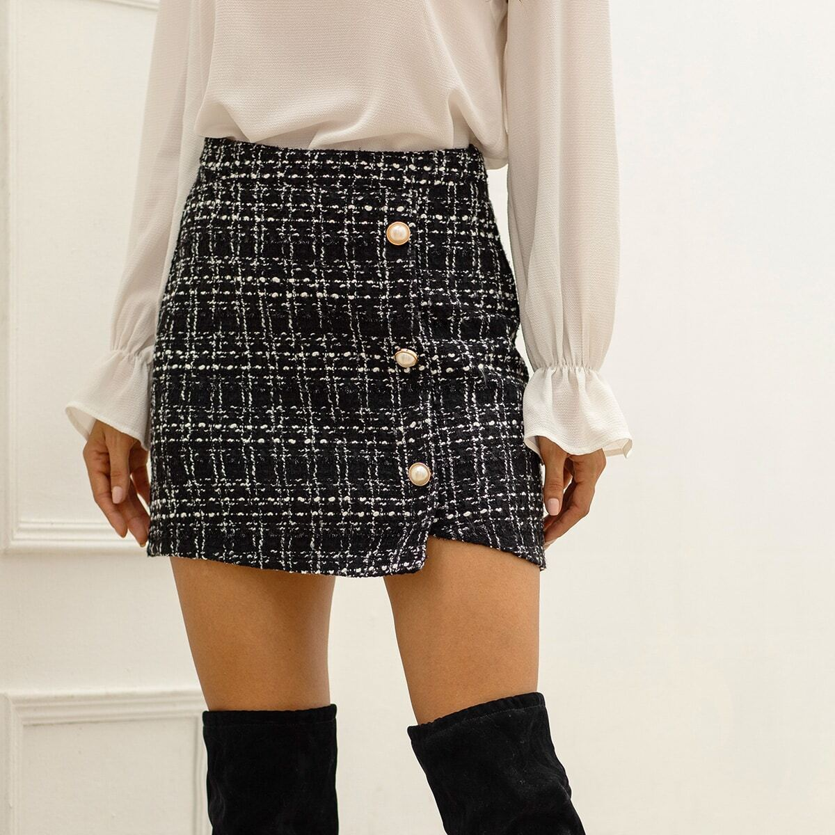 Tweed Pearls Button Front Wrap Skirt