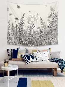 Line Draft Plant Print Tapestry