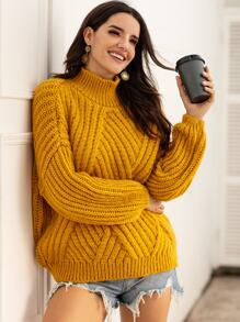 High Neck Solid Chunky Knit Sweater