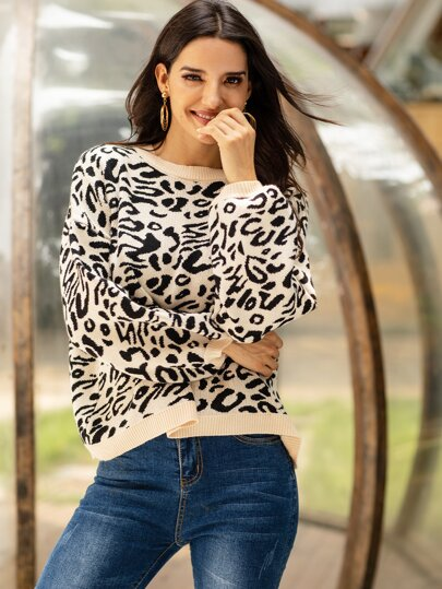Leopard Print Bishop Sleeve Sweater