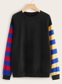 Contrast Panel Drop Shoulder Sweatshirt