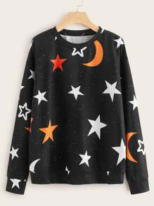 Galaxy Print Drop Shoulder Sweatshirt