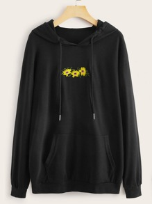 Floral Embroidery Drawstring Hooded Sweatshirt