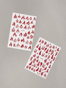 2sheets Fire Design Nail Stickers