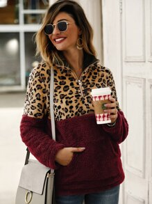 Contrast Leopard Panel Kangaroo Pocket Teddy Sweatshirt