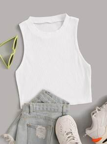 Solid Rib-knit Tank Top