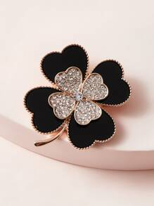 1pc Rhinestone Engraved Flower Design Brooch